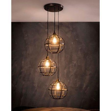 Hanglamp 3 Lichts Metaal Van De Pol Meubelen Hanglamp Industriele Hanglampen Koperen Hanglampen