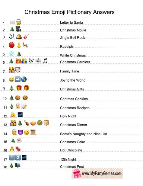 Christmas Emoji Pictionary Quiz Answer Key Printable Christmas Games Christmas Song Games Christmas Party Ideas For Teens