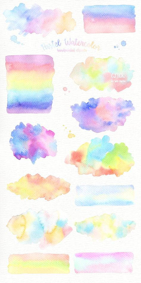 Pastel Watercolor Splashes Clipart | Etsy
