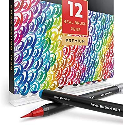 Amazon Com Arteza Real Brush Pens 12 Paint Markers With