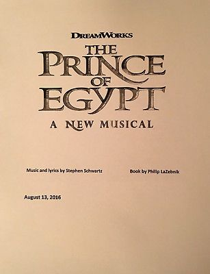 Details about THE PRINCE OF EGYPT - Playscript for World