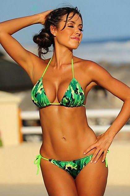 Neon green camouflage bikini