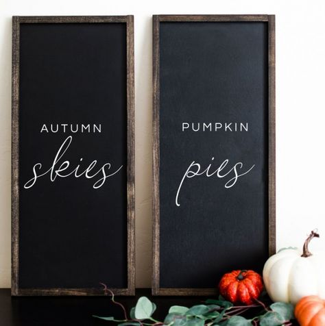 Autumn Skies and Pumpkin Pies black painted wood sign is the perfect touch to a fall mantle, outdoor fall space, or to adorn your walls. Fall Wood Signs, Diy Wood Signs, Painted Wood Signs, Fall Signs, Fall Decor Signs, Painted Letters, Outdoor Wood Signs, Wood Signs Home Decor, White Letters