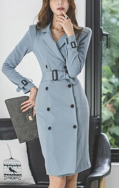 Women Double-breasted Slim Fit Long Coat Party Dress Jackets Outwear Suit Collar