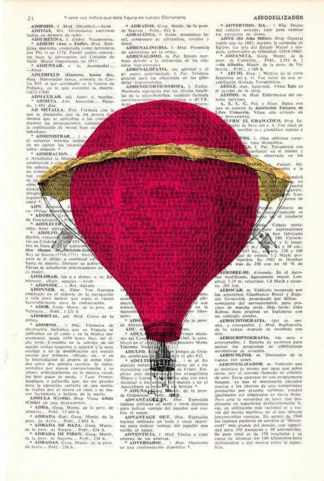 Dictionary art Fantastic Hot air balloon antique by PRRINT