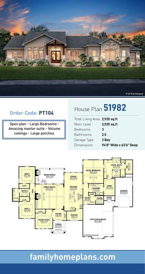 Tuscan Style House Plan 51982 With 3 Bed 3 Bath 3 Car Garage Family House Plans Tuscan House Plans New House Plans