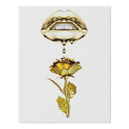 Lips Dripping Gold On Rose Original Art Faux Canvas Print