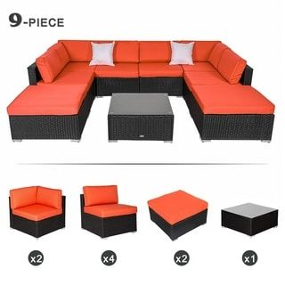 Kinbor Outdoor Patio Furniture Set All Weather Wicker Sectional