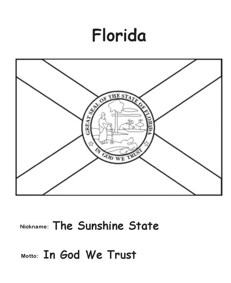 Florida State Flag Coloring Page Social Studies Florida State