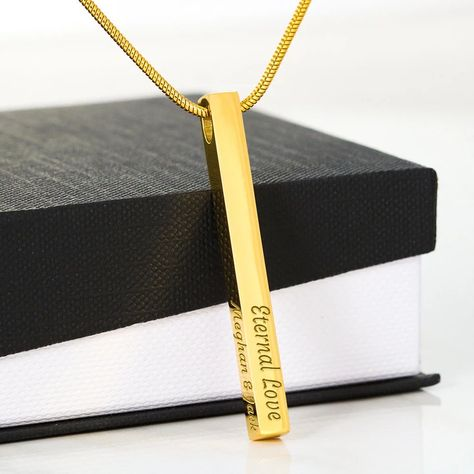 Luxury Gift for Her! Engraved 3D Vertical Bar Necklace in Stainless Or Gold | Personalized – Clarity Cove