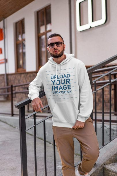 Download Placeit Stylish Mockup Of A Man Wearing A Pullover Hoodie And Sunglasses Long Sleeve Hoodie Hoodie Mockup Pullover Hoodie
