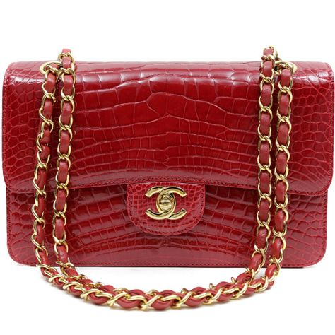 c24fffc0e4d3 Chanel Red Crocodile Classic Flap Bag ($32,945) ❤ liked on Polyvore  featuring bags, handbags, crocodile embossed handbags, croc purse, red croc  handbag, ...