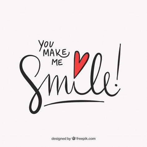 """Cute lettering """"you make me smile"""" Free Vector"""