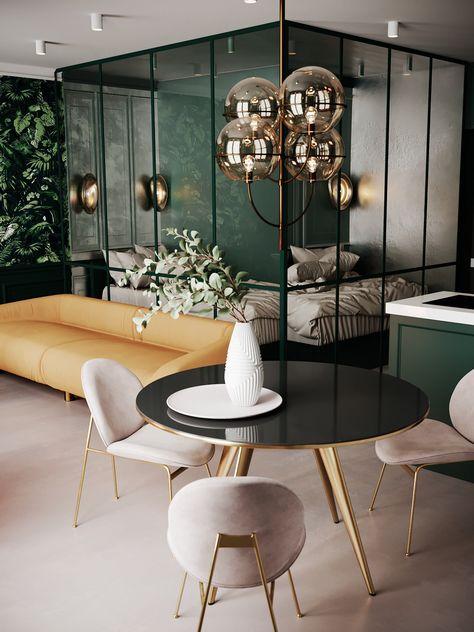 #tiny_home #small_apartment_ideas #green #bedroom #sofa #home #homedecor #decoration #interior_design #trends #light #lighting #living_room