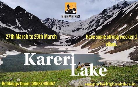 Book your dates in March for Kareri Lake.  27th March to 29th March Call/Whatsapp : 08587900157, 09582321550 Email: sampark@highonhikes.in . . . . #nature #naturelover #travelphotography #travel #trip #group #karerilake #naturelover #peace #addictedtonature #wanderlust #wander #south #uttrakhand #himachalpradesh #explore  #weekendgetaway #weekend #weekendvibes  #highonhikes