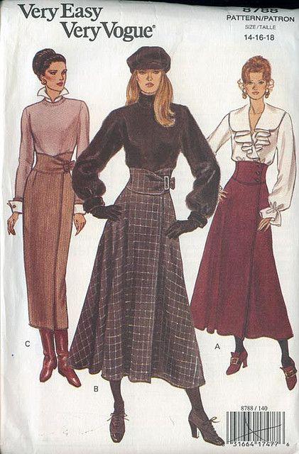 Very Easy Vogue Pattern 8788 Long Maxi Skirt 3 Variations Sizes 80s Fashion, Fashion History, Fashion Art, Vintage Fashion, Vintage Dress Patterns, Vintage Dresses, Vintage Outfits, Vogue Dress Patterns, Vogue Sewing Patterns