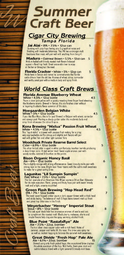 Beer menu from Vinsetta Garage Restaurant, 27799 Woodward Ave - beer menu