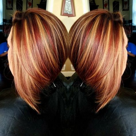 Angles bob with beautiful fall hair color Follow me on Instagram Suzi Lowe for a