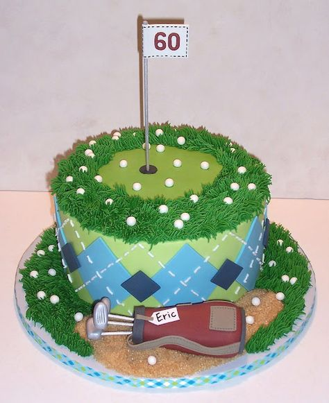 Golf cake by The Icing on the Cake --- GREAT argyle pattern on sides