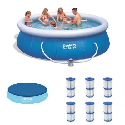 Bestway 12 Ft Round 36 In D Inflatable Pool Plus Debris Cover Plus Type V K Filter Cartridges 57278e Bw 58034e Bw 6 X 58168e Bw The Home Depot Inflatable Pool Pool In