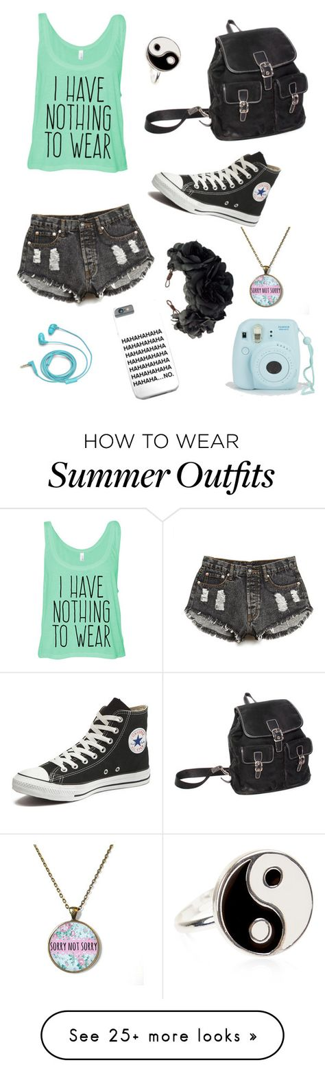 """""""Just so me"""" by brokenwings17 on Polyvore featuring Forever 21, Converse, FOSSIL, Accessorize and Rock 'N Rose"""