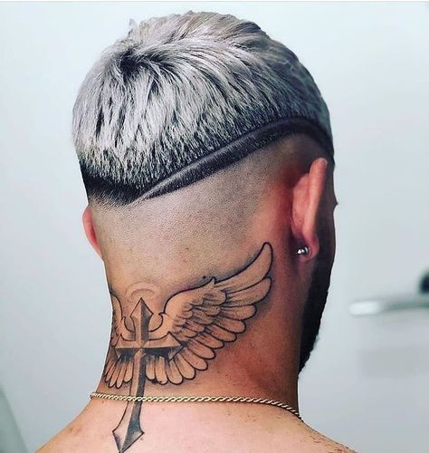 Small Neck Tattoos, Neck Tattoo For Guys, Leg Tattoo Men, Tattoos For Guys, Mens Neck Tattoos, Hair Tattoos, Cool Hairstyles For Men, Haircuts For Men, Men's Hairstyles