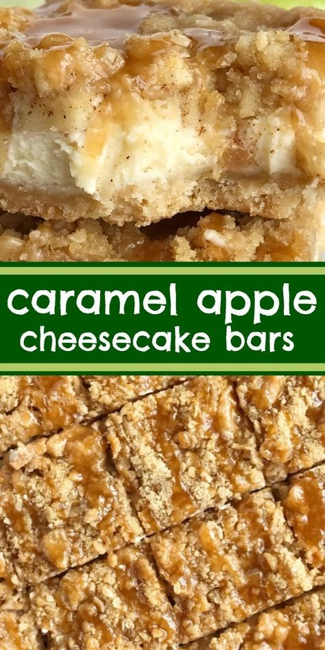 Caramel Apple Cheesecake Bars   Cheesecake Bars   Apple Dessert   Caramel   Caramel apple cheesecake bars with creamy apple cheesecake, brown sugar oat crumble, and caramel sauce. So irresistibly good and perfect apple dessert for Fall. #applerecipes #fallrecipe #caramelapple #cheesecake #cheesecakebars #dessertrecipe #easydessertrecipes