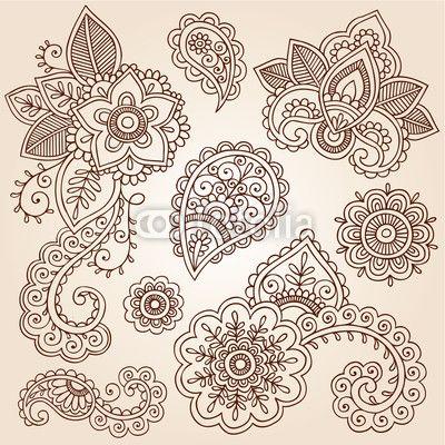 Henna Paisley tatuaje Mandala Doodles Vector Design Elements