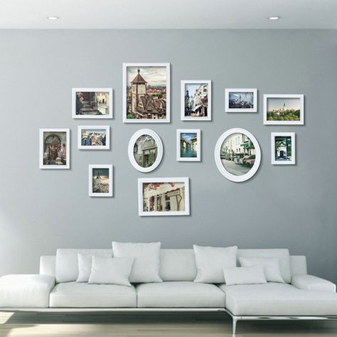 White Multi Picture Photo Frame 13 Pieces Set Wall Frames Set Collage Family New Frames On Wall Frame Wall Collage Picture Frame Decor