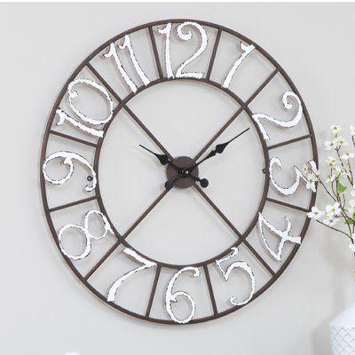 Ophelia Co Oversized Easterwood Metal Wall Clock Metal Wall Clock Oversized Wall Clock Wall Clock