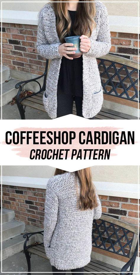 crochet The Coffeeshop Cardigan pattern     -  Crochet Pattern