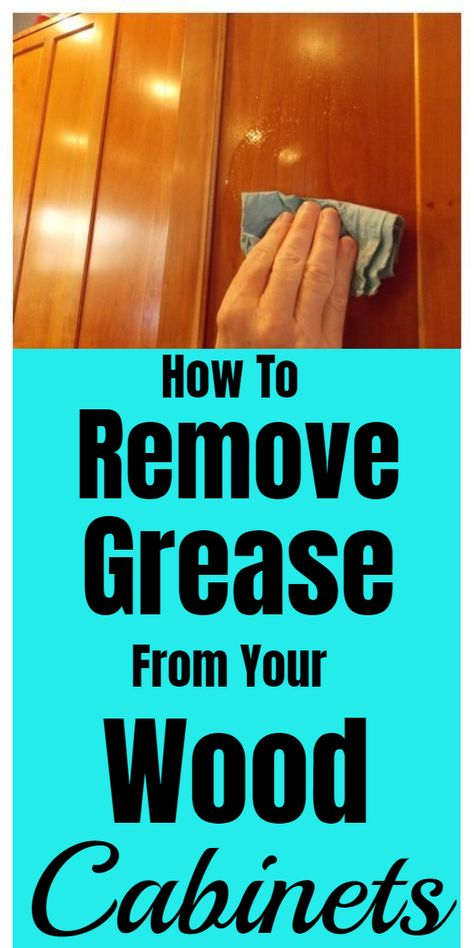 Tips for cleaning and removing grease from wood cabinets. #cleaninghacks #householdhacks #cleaningtips #householdtips Green Cleaning Recipes, Natural Cleaning Recipes, Diy Home Cleaning, Household Cleaning Tips, Homemade Cleaning Products, Household Cleaners, Diy Cleaners, House Cleaning Tips, Natural Cleaning Products