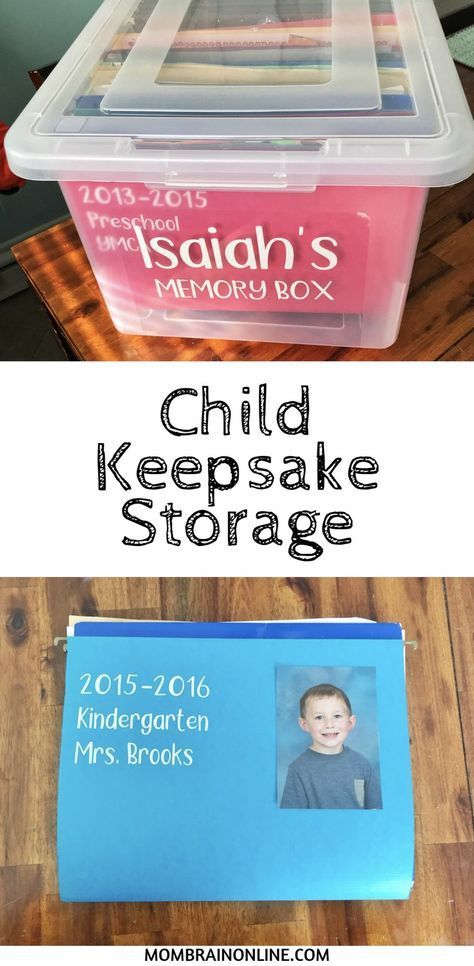 The scattered piles of your child's school and art work can be easily organized in a child keepsake storage box. Create files for each year to store all of your favorite memories, documents, awards, and papers throughout the years in a storage saving box. Our Kids, My Children, Future Children, Kids And Parenting, Parenting Hacks, Mom Brain, School Memories, Memories Box, Baby Memories