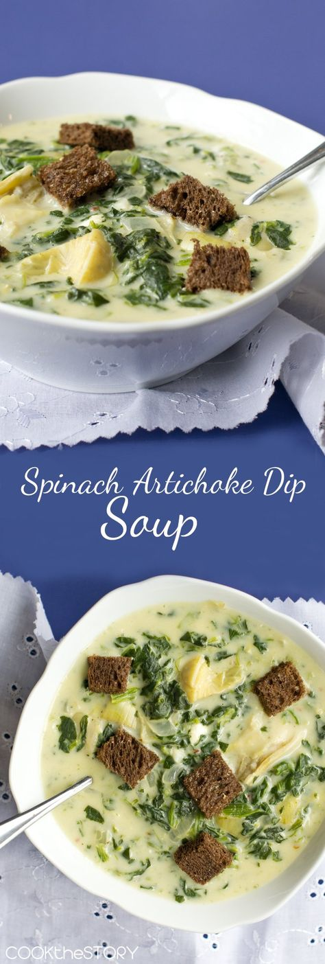 Spinach and Artichoke Dip SOUP: All the flavors of the beloved dip in a soup! Spinach and Artichoke Dip Soup is quick and easy to make. And so delicious! #veggierecipes #vegetarianrecipes #vegetarianfood#busyweeknights #easymeals#soups #souprecipes