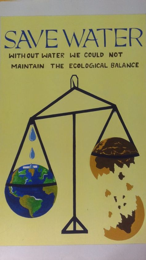 Save Water Poster Colour on Handmade