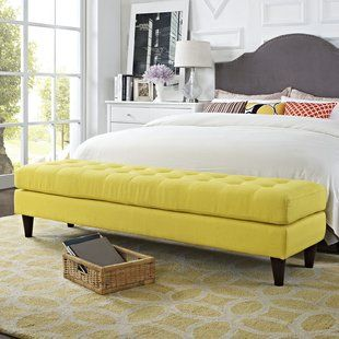 The Bed Bench Makes For A Cozy Bedroom Savillefurniture Yellow Bedroom Storage Bench Bedroom Bedroom Ottoman