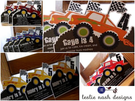 Digitally cut fully customizable monster truck invitations