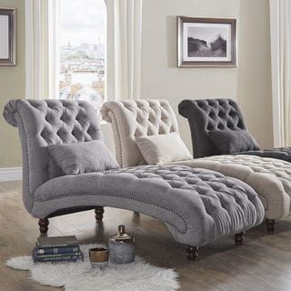 Knightsbridge Tufted Oversized Chaise Lounge By Inspire Q Artisan Overstock Com Shopping The Best Deals On Living Room Cha Canape Chambre Meuble Chambre A Coucher Et Deco Maison