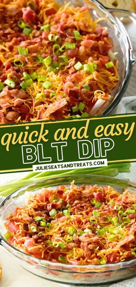This cold party dip has all the flavors of your favorite sandwich! The best BLT Dip is simple to throw together. With a cream cheese base layered with lettuce, bacon, cheese, and tomatoes, this quick and easy Thanksgiving appetizer is the perfect addition to your menu!