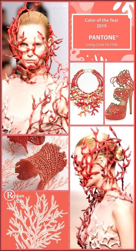 '' Living Coral- Pantone Spring/ Summer 2019 Color '' by Reyhan S.D.  #color #Coral #LIVING #Pantone #Reyhan #Spring #Summer