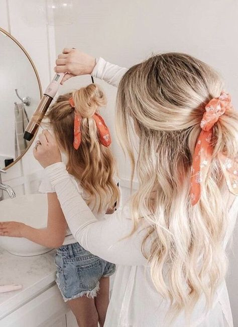 Mom and me hair ideas - mom and daughter twinning - hair scarf