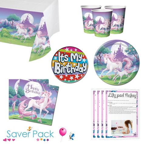 Unicorn Fantasy Party Tableware Saver Pack With Free Downloadable Party Game Pa Childrens Party Supplies Unicorn Party Supplies Childrens Party Games