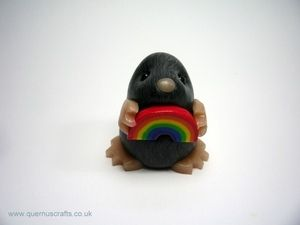 Image of Little Rainbow Mole - Polymer clay but would be cute in fondant!