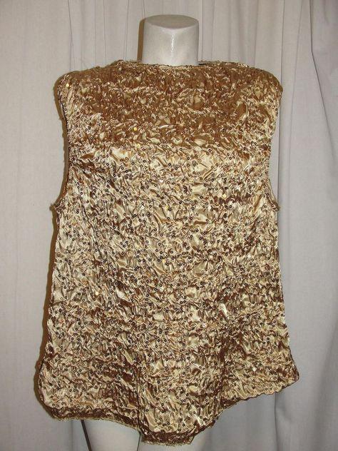 JS BOUTIQUE Women's Sz L Gold Formal Evening Sequined Ruched Pullover Top Shirt #JSBoutique #Blouse #EveningOccasion