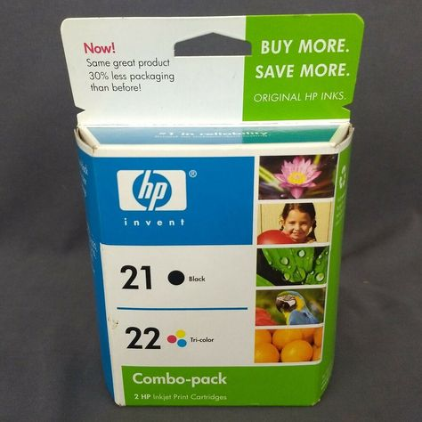 HP 21 Black//22 Tri-color Combo-pack Original Ink Cartridges