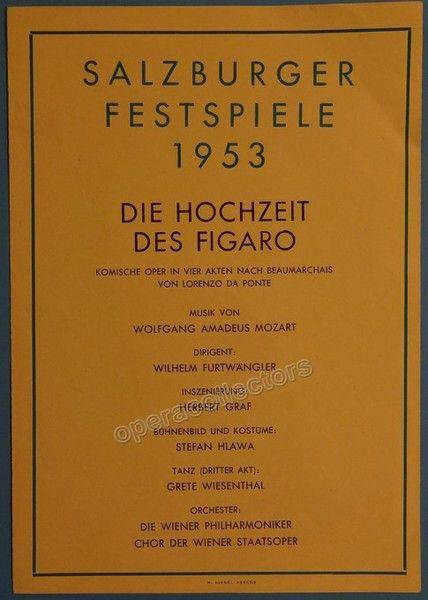 Furtwangler Wilhelm  Concert Program Salzburg Festival