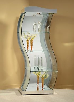 Glass Contemporary Corner Curio Cabinet With Silver Tone Base   Ivgstores    Pinterest   Corner, Contemporary And Glass