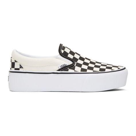 d9623ad219 VANS Black   Off-White Checkerboard Classic Platform Slip-On Sneakers.  vans   shoes