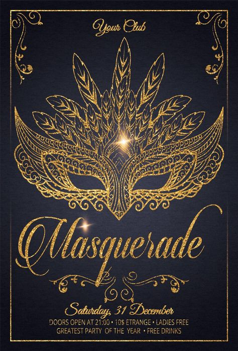 Masquerade Carnival Party Flyer by Artolus on Creative Market Masquerade Halloween, Masquerade Party Invitations, Masquerade Party Decorations, Masquerade Ball Party, Sweet 16 Masquerade, Masquerade Theme, Quinceanera Party, 40th Birthday Parties, Sweet 16 Parties