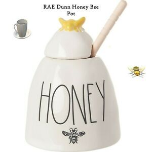 Rae Dunn By Magenta HONEY Ceramic LL Honey Pot With Wooden Dipper